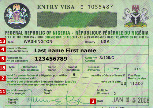 Nigeria entry visa obtainable at the Nigerian embassies or high commissions